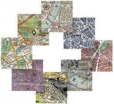 London Street Maps Vintage Antique Decoupage by memoriesemporium, $3.99