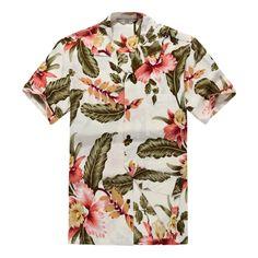 05f8fe101a6ac Men Hawaiian Shirt Cruise Tropical Luau Beach Aloha Hawaii Casual Cream  Floral