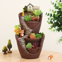 Hot Sale Resin Flower Pot Succulent Plants Pot Garden Bonsai Planter Micro Landscape flowerpot Garden Decoration Planter by MsDIYSupplies on Etsy