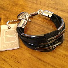 Bracelet (Leather/Metal) - Frock & Dilettante / Brave Leather / Made in Canada Winter Fashion 2014, Brave, Take That, Canada, Metal, Fall, Bracelets, How To Make, Leather