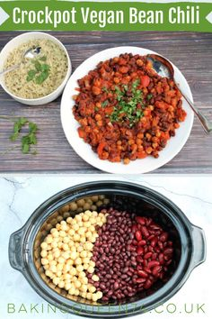 It doesnt get easier than this easy crockpot vegan three bean chili, a simple option for evening meals for Fall and winter.
