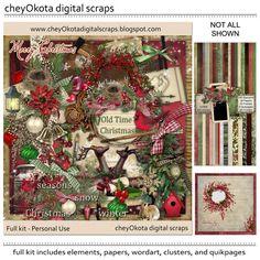 Old Time Christmas Bundle  Digital Scrapbook Kit by cheyOkota, $17.99