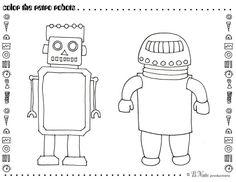 retro robots coloring page