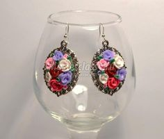 Earrings with roses made of polymer clay. Tutorial.