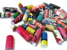 Set of 20 Assorted Coloured Handmade Paper Beads by PurpleSmoothie, $4.50