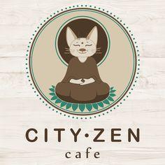 Logo  City - Zen  cafe & bar Cafe Logo, Cafe Bar, Scooby Doo, Digital Art, African, Graphic Design, Logos, City, Illustration