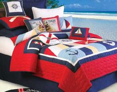 Beach Bedding Sets, Quilts, Comforters, Duvets, Bedspreads and Bedskirts - Home Decorating Company Nautical Quilt, Nautical Bedding, Beach Bedding, Nautical Home, Luxury Bedding, Nautical Nursery, Nautical Style, Coastal Style, Twin Quilt