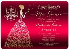 Pink Ball Gown High Heel Shoes Quinceanera Card | Invitations ...