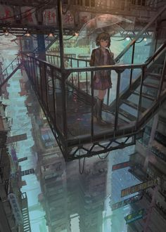 (xpost r/ImaginarySliceOfLife) Upper Section of the City [電鬼] Cyberpunk City, Cyberpunk Fashion, Image Painting, Slice Of Life, Anime Scenery, Urban Landscape, All Art, Online Art, Fantasy Art
