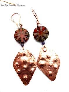 Purple amethyst stone, Czech glass and copper earrings.