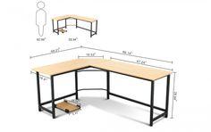 Tribesigns Modern L-Shaped Desk Corner Computer Desk PC Latop Study Table Workstation Home Office Wood & Metal Metal Furniture, New Furniture, Furniture Design, Furniture Dolly, Furniture Removal, Luxury Furniture, Furniture Websites, Discount Furniture, Furniture Ideas