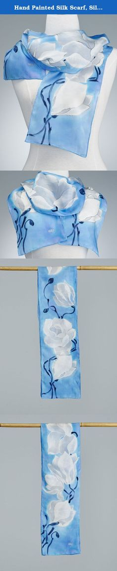 Hand Painted Silk Scarf, Silk Shawl using French dyes. White magnolias on blue. Your scarf is entirely hand painted. I do the work by directly painting on silk with french dye and this gives the unique, non-reproducible value. Basically, a wearable piece of art. I never use guides or pre-design models. One of the signs of the well anticipated spring in Canada are blooming magnolias with their delicate white flowers. This piece is created in The Serti technique where a contour is traced…