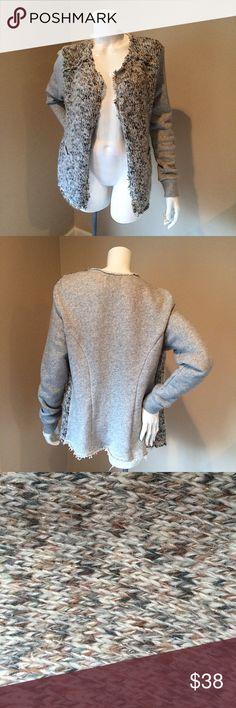 """Elevenses Anthropologie sz M knit sparkle cardigan Elevenses Anthropologie size M grey and tan knit sparkle open front cardigan. Great piece for the winter heavy enough to wear on a chilly day.  I did my best to capture the sparkle in the knit but it was hard to. Length 27 1/2"""", sleeve 24"""".  46% acrylic, 28% wool, 12% mohair, 12% nylon, 2% Lurex. Contrast back 97% cotton 3% polyester. Anthropologie Sweaters Cardigans"""