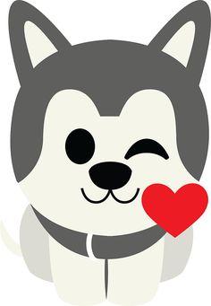 Siberian Husky Emoji Flirting and Blowing Kiss