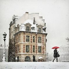 Snowing in Paris.