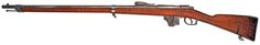 Beaumont-Vitali M71/88 rifle    Manufactured originally in Maastricht in Limburg, Netherlands, following the design of dutch gunsmith Beaumont, possibly inspired by the Mle1866 Chassepot. Due to the French adoption of the Mle1886, these single shot rifles were updated with a Vitali box magazine.  11,3x51mmR blackpowder, four rounds fixed box Italian Vitali magazine.