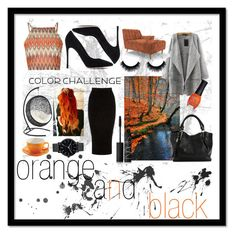 """""""color challenge , orange and black"""" by xestherkoopmans ❤ liked on Polyvore featuring interior, interiors, interior design, home, home decor, interior decorating, Glamorous, Warehouse, Gianvito Rossi and Joybird Furniture"""
