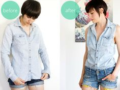 how to refashion an old blouse into a fashionable sleeveless shirt