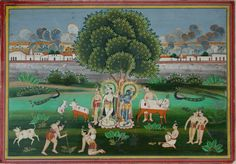 Indian miniature painting: Krishna, Balarama and gopas at the banks of the Yamuna at Vrindavan, Mathura. Circa 1830-50. Gouache and gold on wasli. 39.3 x 27.5cm