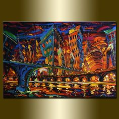 Original Cityscape Painting Oil on Canvas Palette by willsonart, $375.00