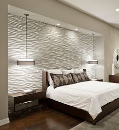 Bedroom Design, Cool Contemporary Bedroom With White Texture Bedroom Wall Designs Also Comely Twin Pendant Lamp Also Mod Brown Nightstand Also Queen Size Bed With Brown Wooden Divan Also White Quilt And Brown Pillowcase: Two Best Bedroom Wall Designs Master Bedroom Remodel, Bedroom Wall Designs, Home, Home Bedroom, Luxurious Bedrooms, Modern Bedroom, Bedroom Wall, Remodel Bedroom, Interior Design
