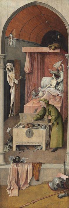 Jheronimus Bosch (c. 1450–1516), Death and the Miser. Oil on panel, 93 x 31 cm h., 1485 - 1490. Washington, D. C. National Gallery of Art. Samuel H. Kress Collection. 1952.5.33.