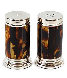 Tortoise shell salt and pepper shakers.