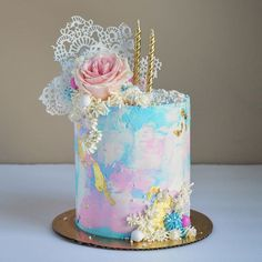 Homemade confetti cake has eggs in it. Eggs are protein. Therefore, cake is good for you. Beautiful Birthday Cakes, Cool Birthday Cakes, Beautiful Cakes, Amazing Cakes, Pretty Cakes, Cute Cakes, Cake Designs For Girl, Cake Business, Painted Cakes