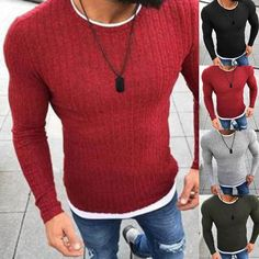 Winter Henley Neck Sweater Men Knitted Pullover //Price: $10.38 & FREE Shipping // #house #style #art