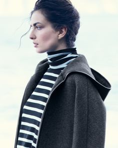 OCT '14 Style Guide: J.Crew women's stadium-cloth hooded zip coat and oversize stripe turtleneck.
