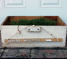 """""""Whale Watcher"""" Driftwood hand painted driftwood signs with hand crocheted cotton rope and shells. Approximately 10 to 12 inches long."""