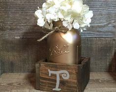 5 Jar Neutral Toned Mason Jar Centerpiece Mason di AllThatsRustic