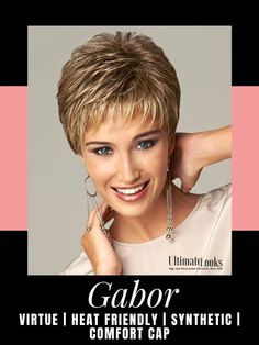 Virtue Wig by Gabor Essentials... Offering a light, cool fit with no-fuss styling, this short, slightly textured boy cut includes a barely curled top and crown, wispy, feathered bangs and expertly layered sides and back that blend into a neck hugging nape. #wigs #wigsmaker #wifglife Medium Blonde, Brown To Blonde, Dark Blonde, Brown And Grey, Gabor Wigs, Feathered Bangs, Boy Cuts, Red Media, Styling Tools