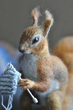 Knitting knitted squirrel Nicolette Kernohan