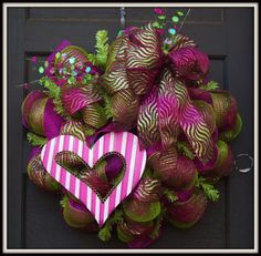 Wild Sparkly Pink and Green Wreath by GlitzandGarland on Etsy