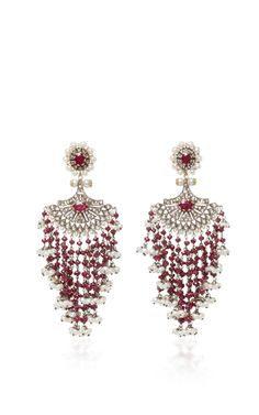 Indo-Russian 14K Gold Pearl Sapphire and Diamond Earrings Sanjay Kasliwal xZQrCNl0