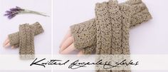 Knitted fingerless mittens - free pattern