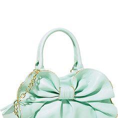 Mint Betsey Johnson Bag With Bow Cheap Michael Kors Bags, Handbags Michael Kors, Purses And Handbags, Satchel Handbags, Betsey Johnson Handbags, Betsey Johnson Dresses, Color Menta, Cute Purses, Cute Bags