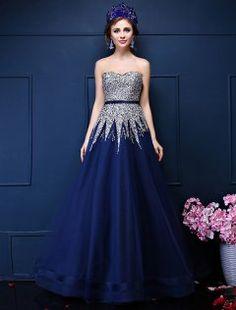 Glitter A-linje Kjæreste Beading Paljetter Ramma Royal Blue Organza Balljoler
