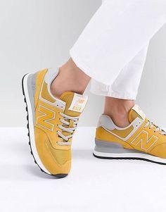 separation shoes 6e265 21e9a New Balance – 574 – Sneaker aus Wildleder, in Gelb Wildleder, Sneakers  Schuhe,