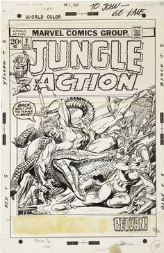 Original Comic Art:Covers, Gil Kane Jungle Action #2 Tharn Cover Original Art (Marvel,1972).... Image #1