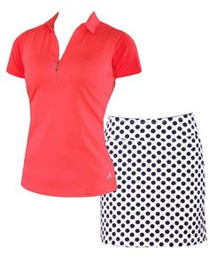 Coral Glow Polo and Navy Polka Dot Golf Skort Set | #golf4Her