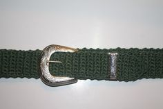 Green Crochet Belt With Silver Tone Western Style  Buckle by Crickettes on Etsy