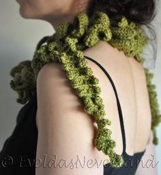 Forester's Wife - crocheted fiddlehead fern lariat / fiber art by Evelda's Neverland
