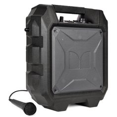 Monster Rockin Roller Mini Bluetooth Wireless Portable Indoor/Outdoor Speaker System w/3.5mm Input FM Radio (Black)