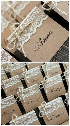 wedding wedding place cards table cards name cards place cards place cards cards wedding cards wedding card birthday handmade rustic lace vintage rustic place cards wedding country Bridal Shower Decorations, Wedding Decorations, Wedding Table, Rustic Wedding, Wedding Vintage, Vintage Diy, Wedding Ideas, Wedding Country, Wedding Venues