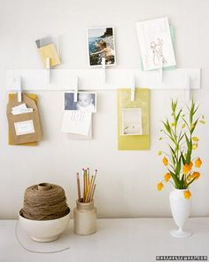 Create a simple message or display board from a scrap of wood and some clothes pins. -- DIY Home Projects: Martha Stewart. Martha Stewart Home, Martha Stewart Crafts, Home Office Organization, Organization Hacks, Organized Office, Coupon Organization, Easy Projects, Home Projects, Craft Projects