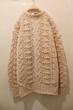 Bobble, lace and cabled pullover