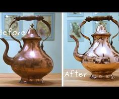 Antique restoration is mostly easy (brass tepot to mirror)
