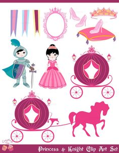 Princess and Knight Clip Art Set by 1EverythingNice on Etsy